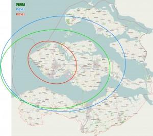 Door op onderstaande kaart te klikken kun je het bereik van de drie repeaters zien.